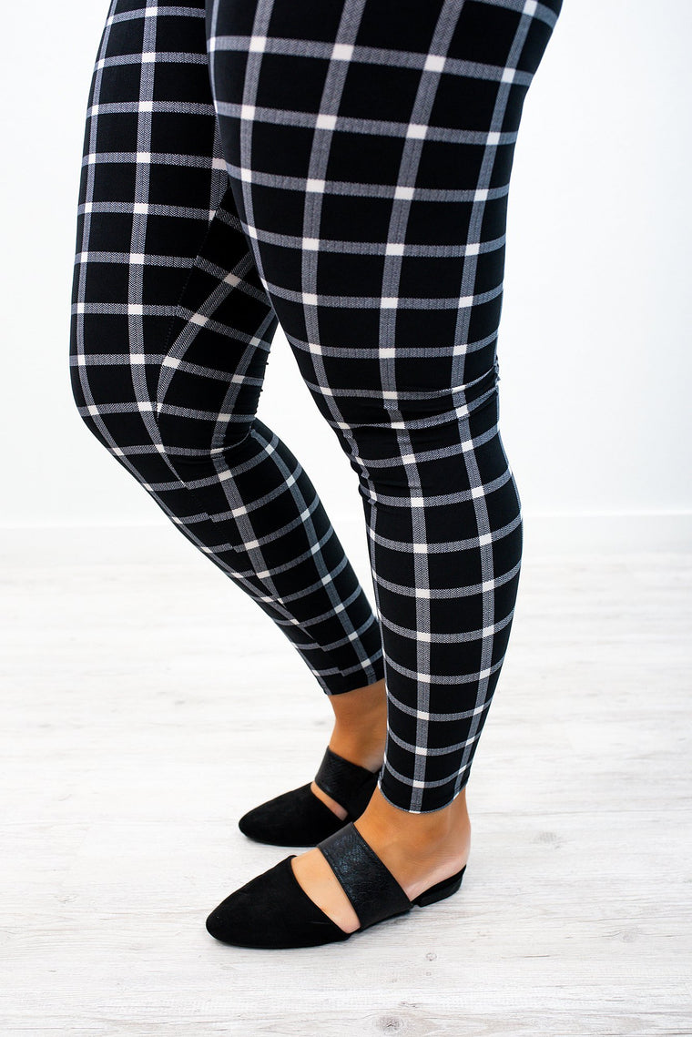Black Plaid Printed Leggings (Sizes 12-18) - LEG2626BK