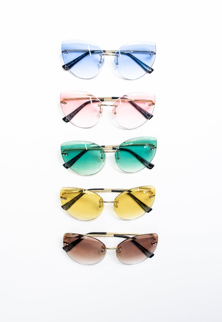 Gold Frame Ombre Cat Eye Sunglasses - SGL224 - FREE hard case