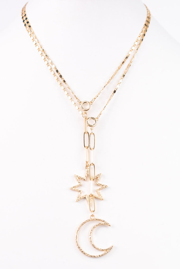 Gold Hammered Moon/Starburst Pendant Necklace - NEK3026GO