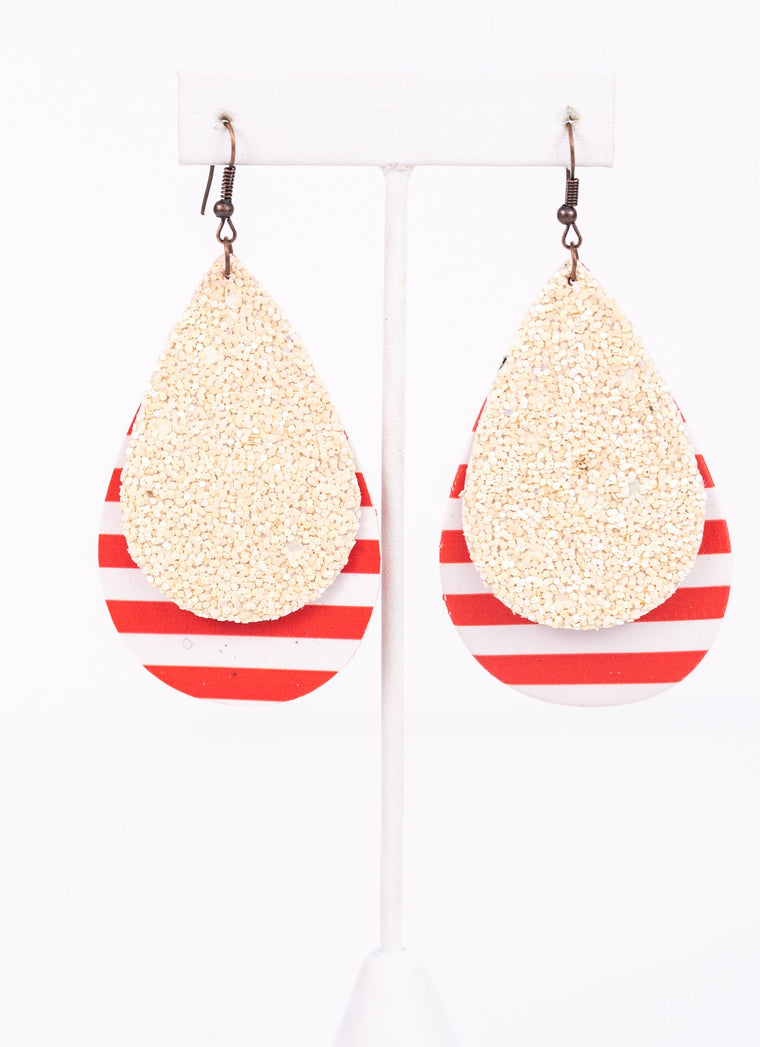 Red/White Striped Ivory Glitter Teardrop Earrings - EAR2709RD