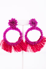 Magenta Beaded/Fuchsia Fringe Hoop Earrings - EAR2707MG