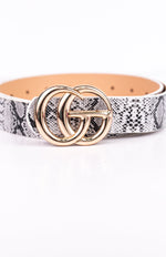 White/Gold Snakeskin Belt - BLT1043WH