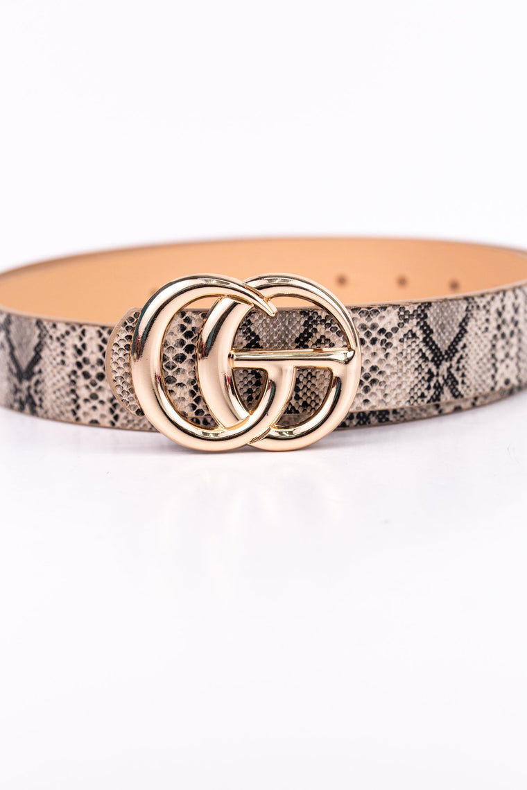 Natural/Gold Snakeskin Belt - BLT1044NA
