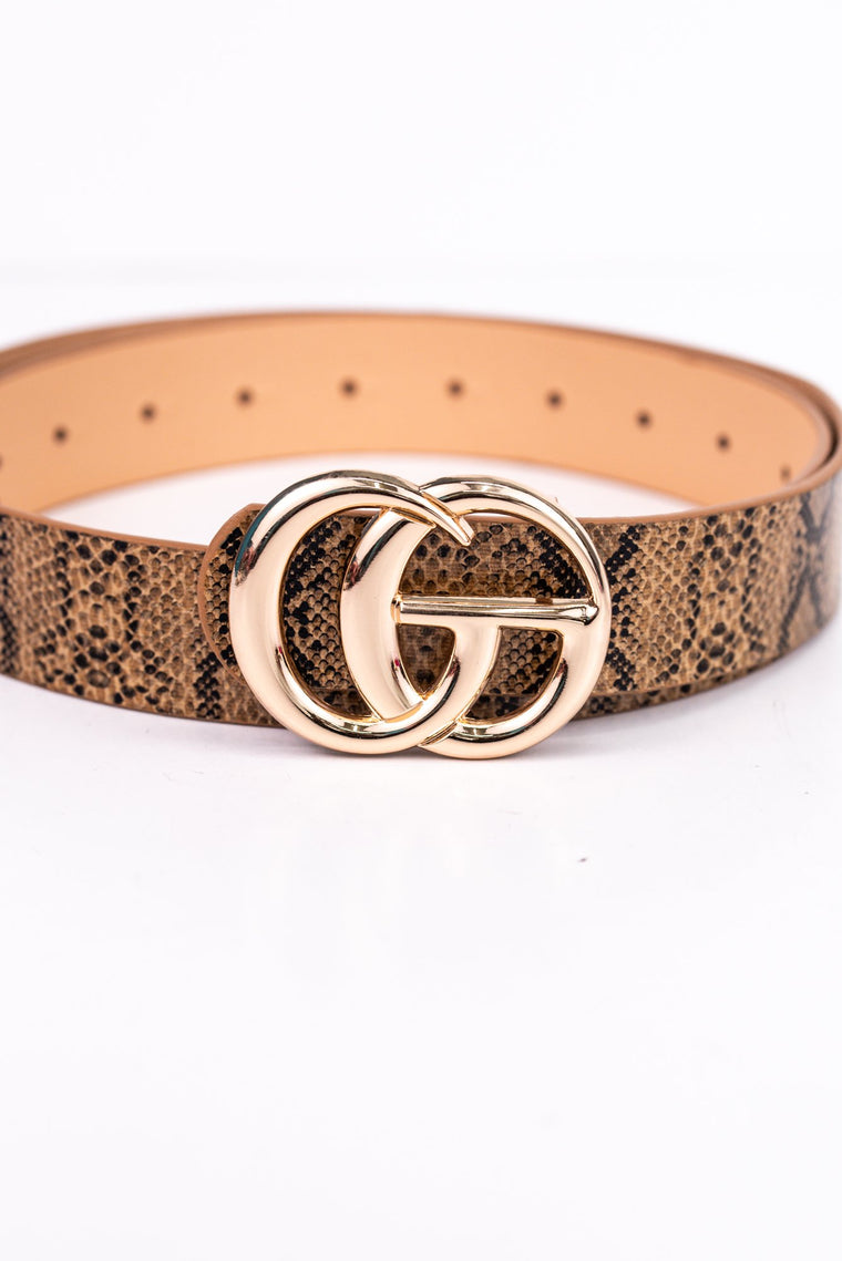 Brown/Gold Snakeskin Belt - BLT1045BR