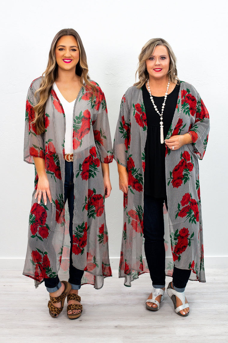 Budding Romance Black/White Striped/Floral Sheer Duster (Sizes 4-16)  -  O2337BW