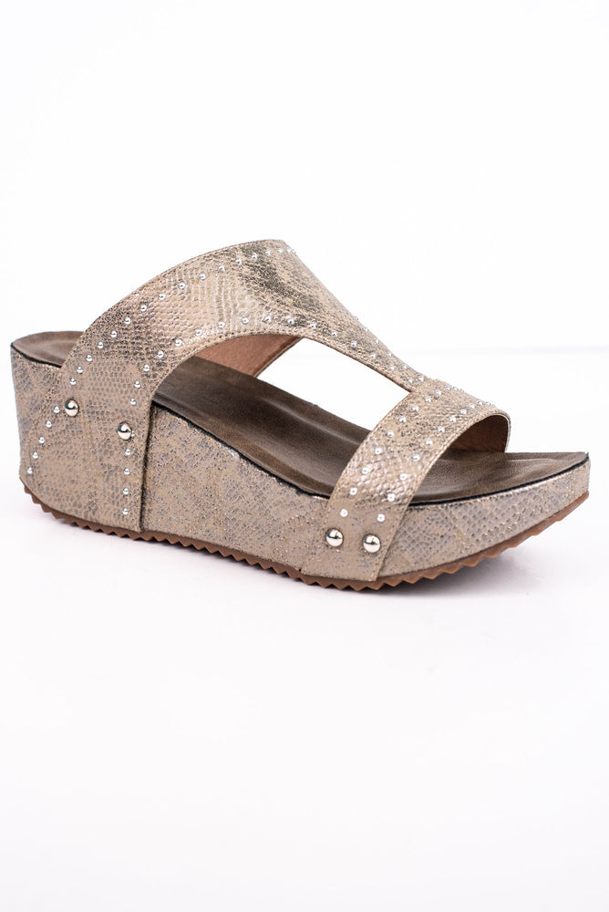 Take A Step In The Right Direction Taupe Studded Wedges - SHO1690TA