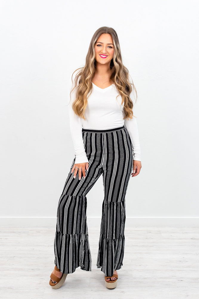 Hooked On A Feeling Black/Ivory Striped Flare Pants - PNT1117BK