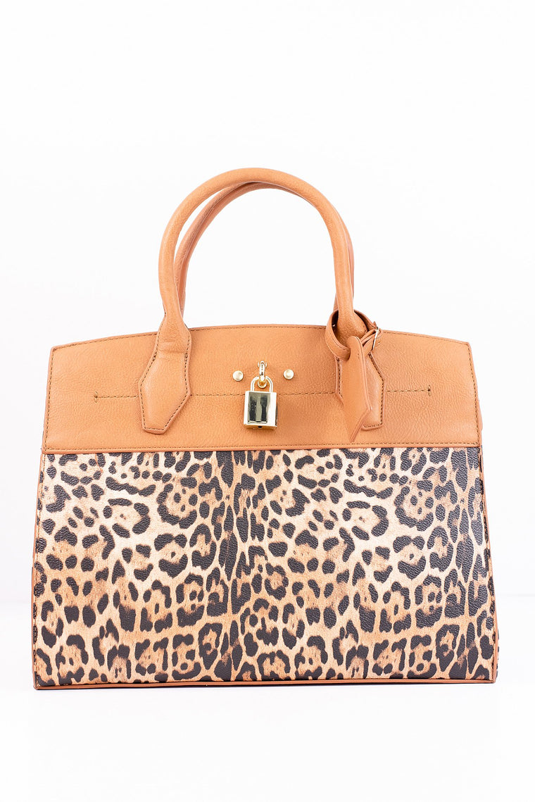 Cat Live Without You Tan/Leopard Bag - BAG1332TN