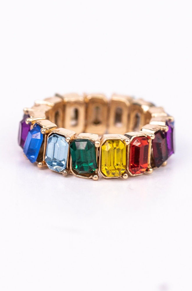 Rainbow/Gold Bling Stretch Ring - RNG1085RW