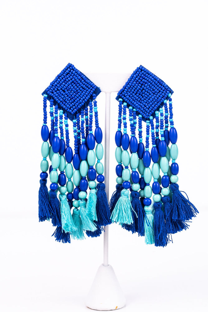 Royal Blue/Teal Seed Bead/Beaded/Tassel Earrings - EAR2715RB
