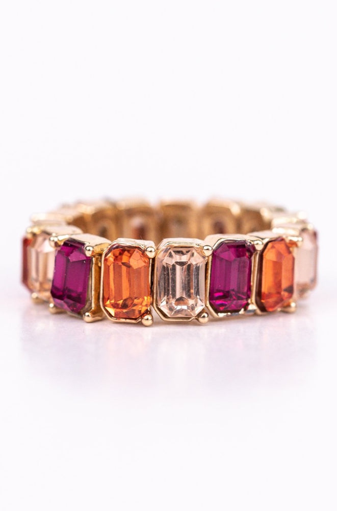 Magenta/Coral/Light Pink/Gold Bling Stretch Ring - RNG1082MG