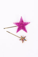 Gold/Pink Glitter/Bling Star 2 Pack Hair Clip - CLP183GO