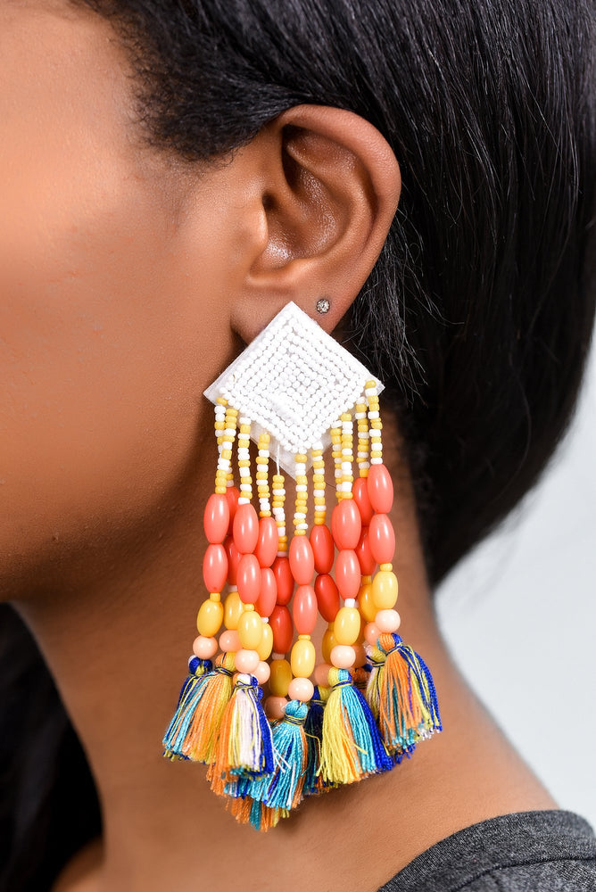 White/Multi Color Seed Bead/Beaded/Tassel Earrings - EAR2718WH