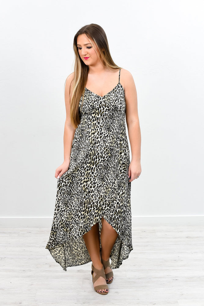 Never Letting You Go Olive Leopard High-Low Dress - D3252OL