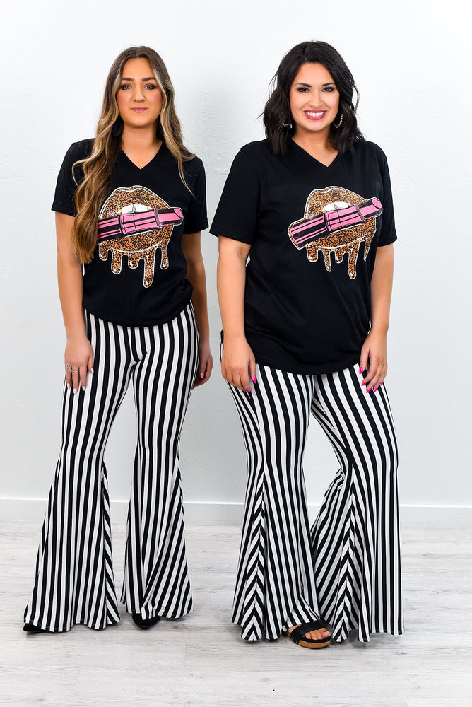 Babe Next Door Black/White Striped Bell Bottom Pants - PNT1120BW