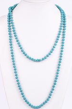 Turquoise Faceted Beaded Long Strand Necklace - NEK3057TQ