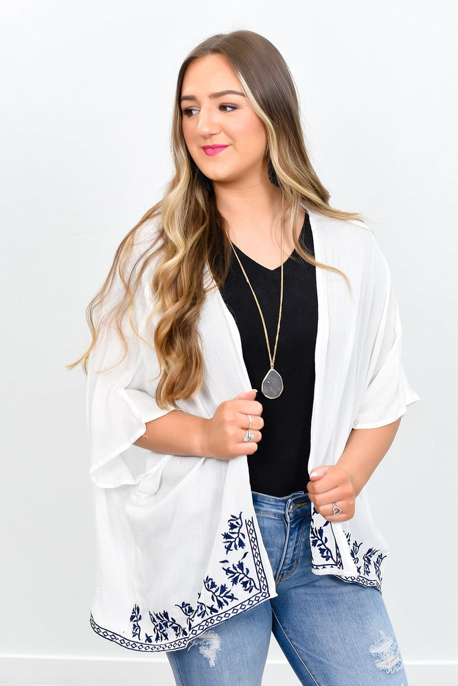 My Heart Beats Fast For You Ivory/Navy Embroidered Kimono - O2366IV