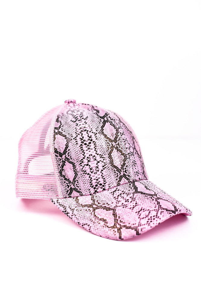 Light Pink/Black Snakeskin Ponytail Trucker Hat - HAT1132LPK