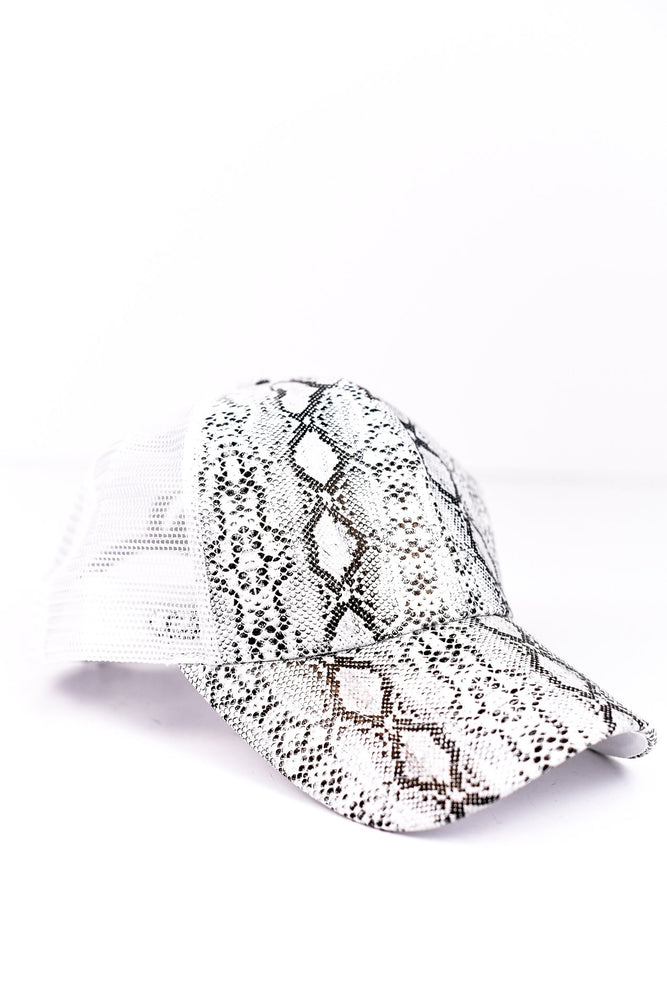 White/Black Snakeskin Ponytail Trucker Hat - HAT1131WH