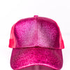 Hot Pink Glitter Ponytail Trucker Hat - HAT1130HPK