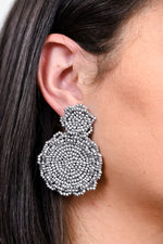 Gray Seed Bead Double Circle Drop Earrings - EAR2741GR