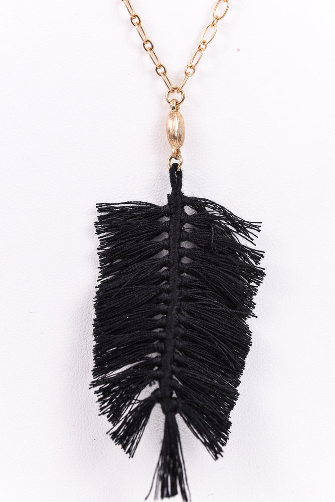 Black Feather Fringe/Gold Chain Necklace - NEK3066BK