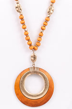 Light Brown Wood/Gold Pendant/Beaded Necklace - NEK3067LBR