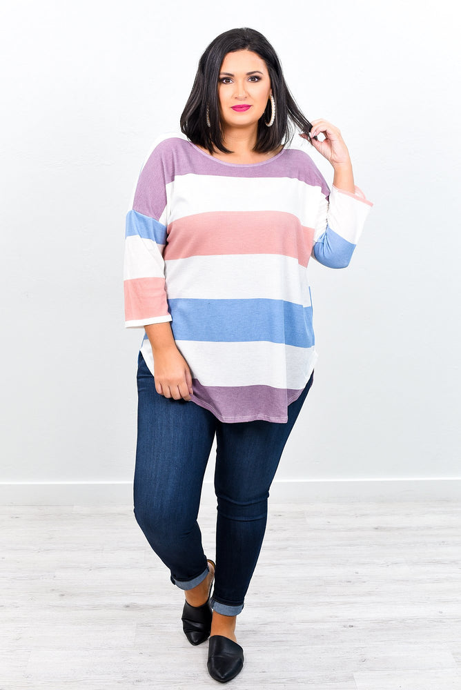 Nothing But Love Purple/Multi Color Striped High-Low Top - B7636PU
