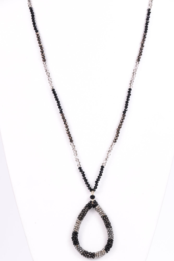 Black/Gray/Clear Seed Bead Teardrop Pendant Necklace - NEK3079BK