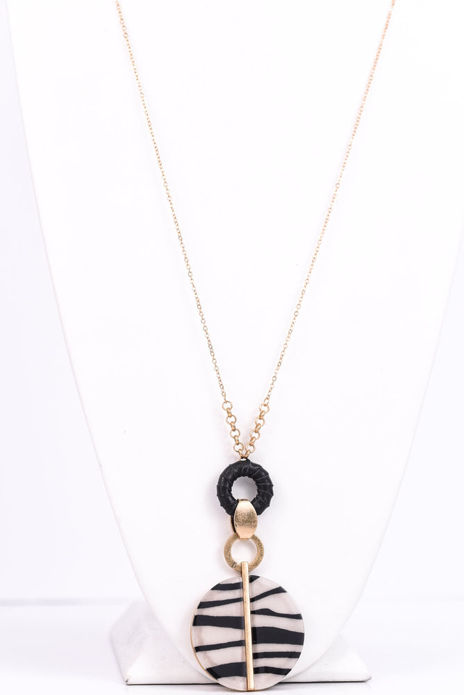 Zebra/Gold/Black Leather Pendant Necklace - NEK3072ZE