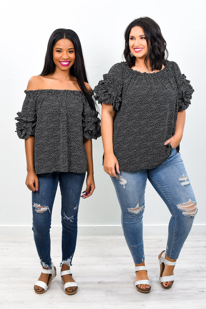 Just A Little Show Off Black Speckled Off The Shoulder Top - B7672BK