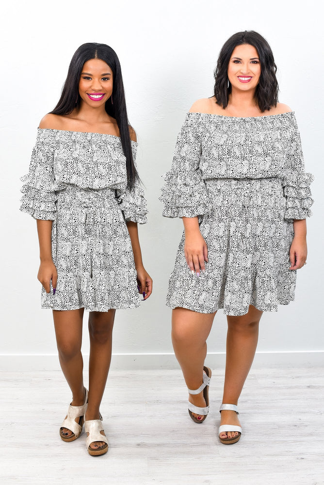 Spot The Difference Off White Speckled Off The Shoulder Dress - D3271OW