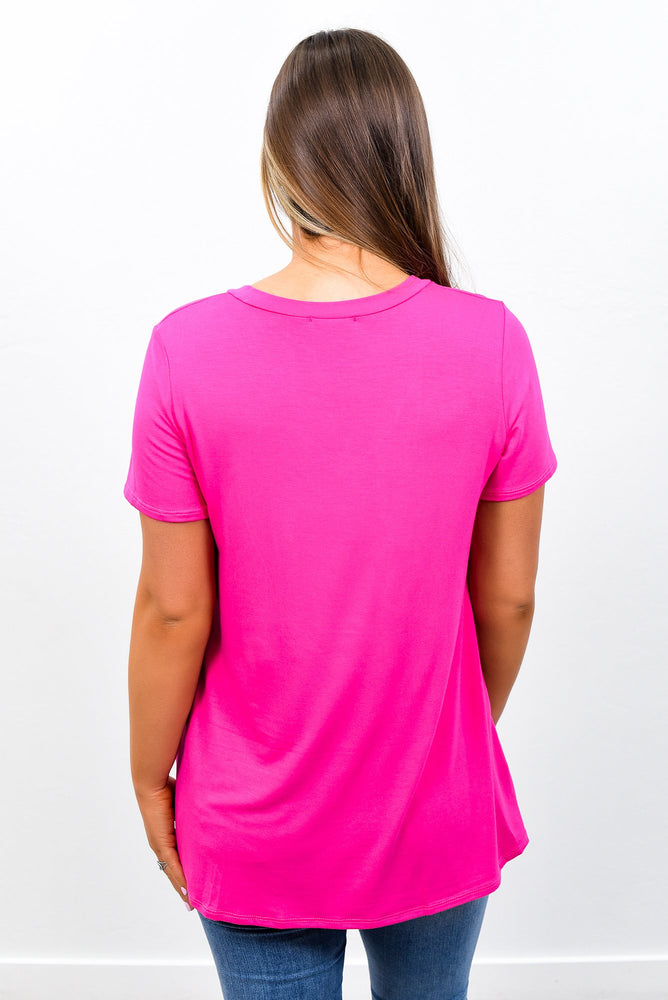 Your Favorite Basic Fuchsia Solid V Neck Top - B7706FU