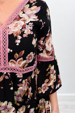 Spring To Life Black/Mauve Floral Crochet Dress - D3274BK