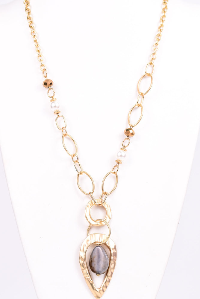 Gold Hammered/Brown Teardrop/Chain Link/Beaded Necklace - NEK3098GO