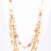 Ivory/Gold Chain Link/Beaded Layered Necklace - NEK3100IV