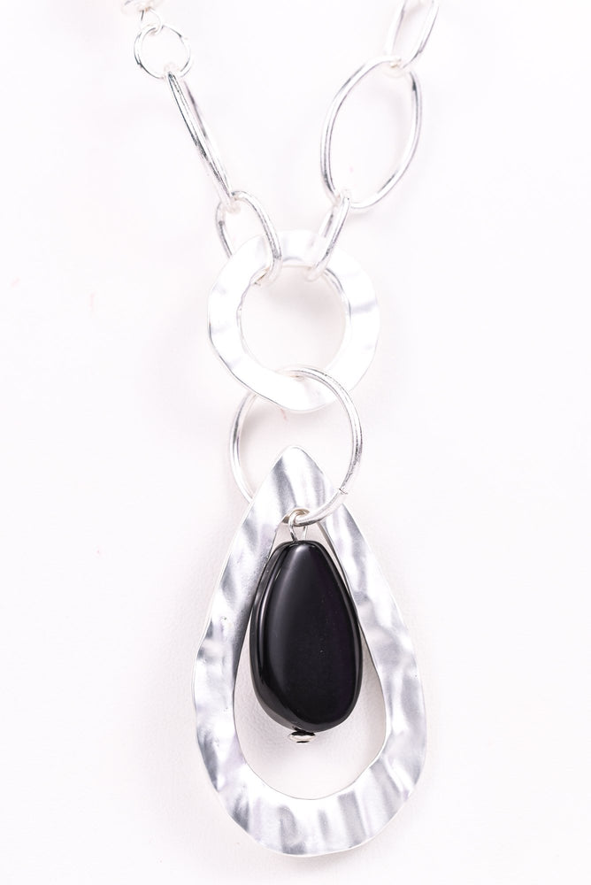 Silver Hammered/Black Teardrop/Chain Link/Beaded Necklace - NEK3097SI