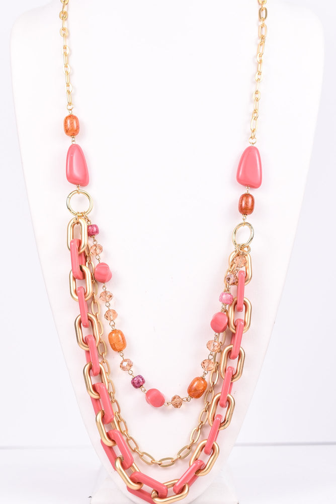 Pink/Gold Chain Link/Beaded Layered Necklace - NEK3099PK