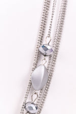 Silver Matte Beaded/Chain Layered Necklace - NEK3091SI