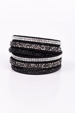 Black/Bling/Crushed Crystal Wrap Bracelet - BRC2491BK