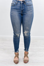 Can't Keep It A Secret Medium Denim Distressed Jeans - K392DN