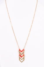 Gold/Red Marble Chevron Pendant Necklace - NEK3146GO