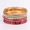 Pink Snakeskin/Gold/Bling Stackable Bangle Bracelet - BRC2506PK