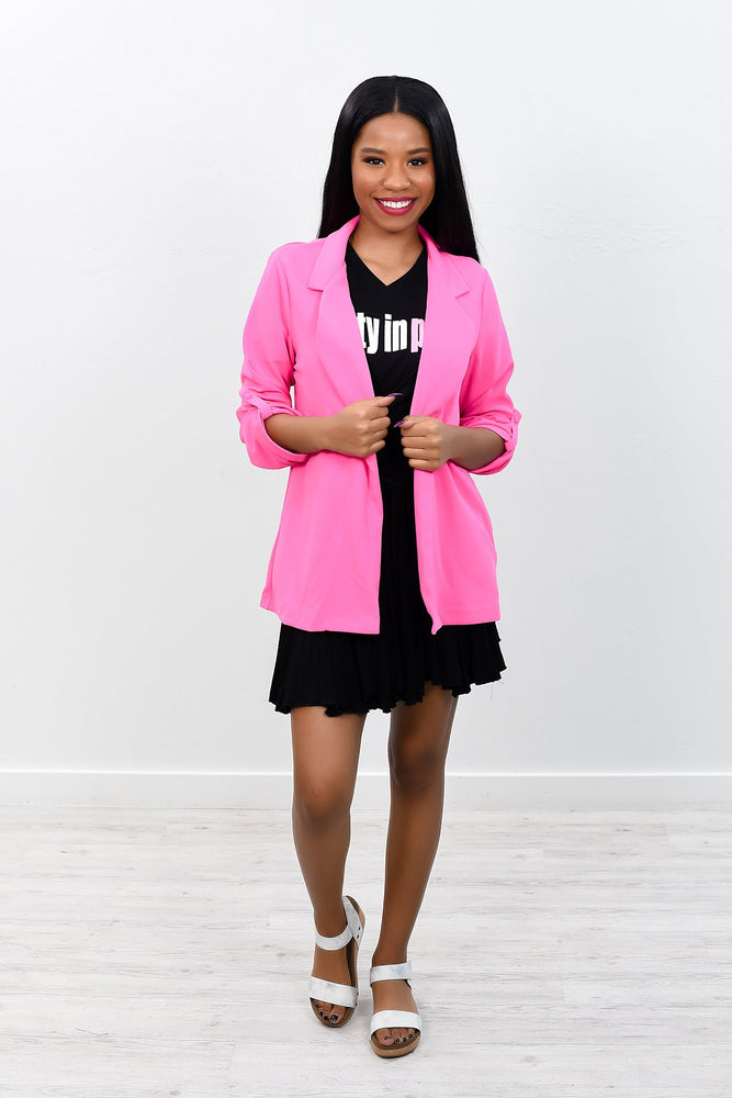 Business As Usual Hot Pink Solid Blazer - O2409HPK