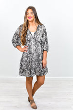 She's A Sly One Gray Snakeskin High-Low Dress - D3292GR