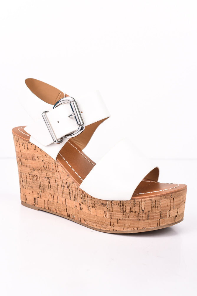 Get On My Level White Wedges - SHO1732WH