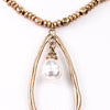 Gold Hammered Beaded/Teardrop/Pearl Pendant Necklace - NEK3135GO