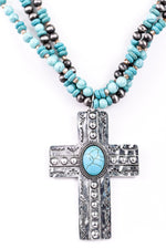 Silver Cross/Turquoise Multi-Strand Beaded Necklace - NEK3159SI