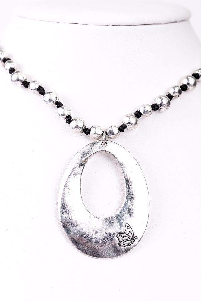 Silver Hammered Beaded/Black/Cut Out Teardrop With Butterfly Necklace - NEK3134SI
