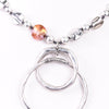 Silver Hammered Beaded/Double Hoop Pendant Necklace - NEK3140SI